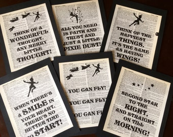 Neverland Party Peter Pan Birthday Tinker Bell Party Neverland Nursery Dictionary Art Quote Prints Neverland Shower Wedding   Set of 6