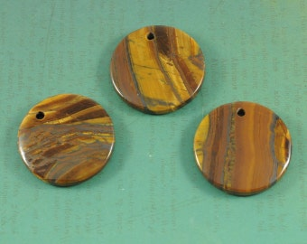 Large Drilled Tiger Iron Pendant - Round Circle Coin Shape -  Large Natural Golden Brown Gemstone
