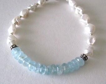 Aquamarine and pearl bracelet   aquamarine bracelet   pearl bracelet    heart