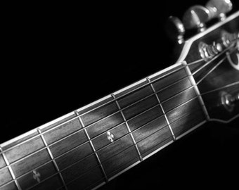 Guitar wall art, fine art photography, black and white, wall art, black and white print, light paint, acoustic, strings, music