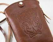 Crossbody Bag with Celtic Crane Tooled Design in Bourbon Brown