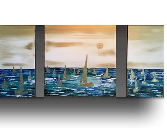 Abstract Painting - sailboat painting, Seascape Painting, Acrylic painting, Landscape painting, white and blue painting by Sami
