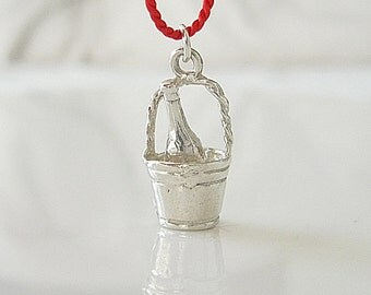 Vintage Champagne on Ice Bucket Charm Silver on Red Silk Cord - wedding anniversary gift bride groom