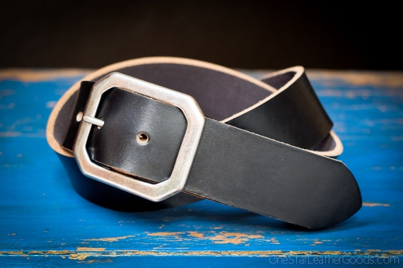 "Custom sized belt - 1.5"" width - Horween Chromexcel leather - center bar buckle - black"