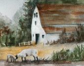 Fall decor watercolor painting lamb Print of lamb art PRINT lamb painting of lamb barn white watercolour painting autumn sheep western 11x14