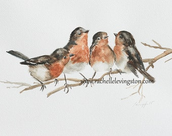 for her for grandma bird painting of bird Print bird art PRINT bird PRINT watercolour painting cottage chic bird wall hanging nursery 8x10