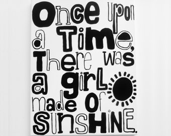 ONcE UPoN a tiME, tHeRE WAS a GiRL mAdE Of SUNSHiNe. - 20 X 26 inch Canvas Art Large Modern Art Canvas Original Poetry Painting LYNDA BLACK