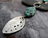 Sale - Long Seed Pod Necklace // organic silver pod pendant with green jasper and turquoise stones // artisan layering necklace (3587)