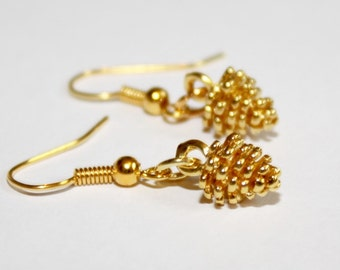 Gold Pine Cone Earrings Autumn Earrings Fall Earrings Autumn Jewellery Fall Jewellery Pine Cone Jewellery