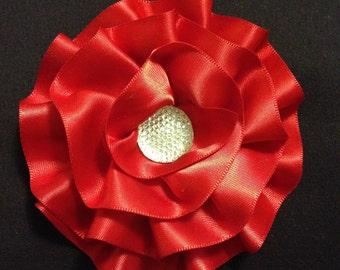 Red flower hair clip / hair bow