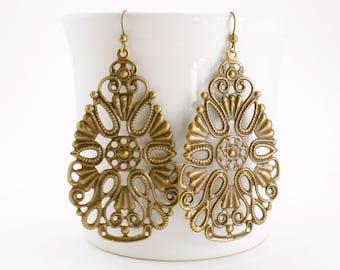 Large Gypsy Earrings, Bohemian Filigree Earrings, Lacy Teardop Earrings