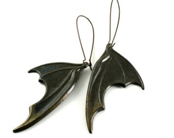 Black Bat Wing Earrings, Dragons Wings Earrings, Neo Victorian Gothic Earrings, Large Vampire  Wing Earrings