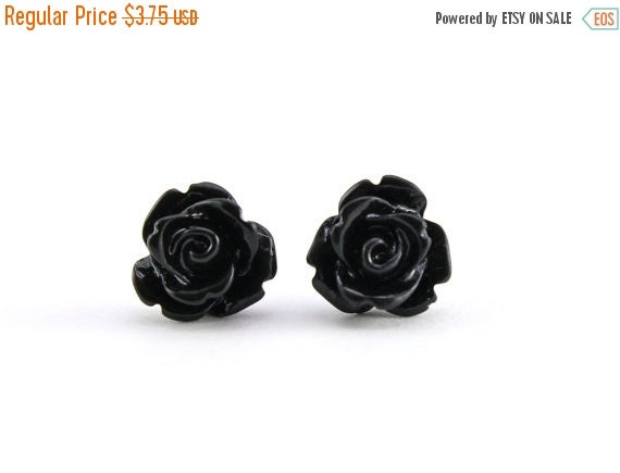 SALE 20% OFF Tiny Black Rose Earrings, Halloween Jewelry, Bridesmaids Gift, Under 5