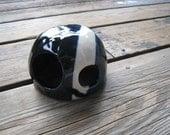 Black and White Aquarium Sculpture - Ceramics and Pottery - Fish and Reptile Hide - Little Mr. Mustache