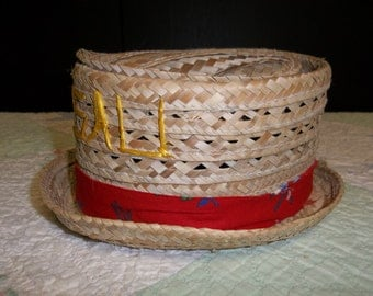 1/2 OFF!!! Vintage Nassau Small Straw Hat, Red with Flower Band, T