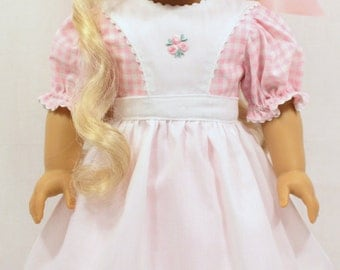 Pink Gingham Outfit, 18 Inch Doll Dress, Dress and Pinafore