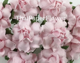 25 Soft Pink Small Mulberry Paper flower roses DIY scrapbook card making home decor craft supply 19/2