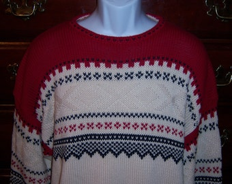 Vintage Nautica Red Blue Off White Fair Isle Ski Pattern Heavy Cotton Sweater Large Men's