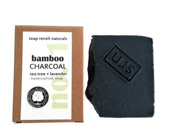 Charcoal Face Soap with Tea Tree and Lavender for troubled skin. Acne-prone skin, All Natural Face.