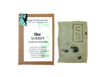 Soap for Men, All Natural Manly Soap, The Sheriff, Cambrian Blue Clay, Organic soap