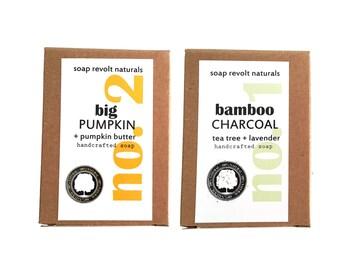 Charcoal Soap + Big Pumpkin Soap - 1/2 bar each