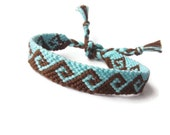 Friendship Bracelet, Macrame, Woven Bracelet, Wristband, Knotted Bracelet -Blue Light Brown Greek Waves