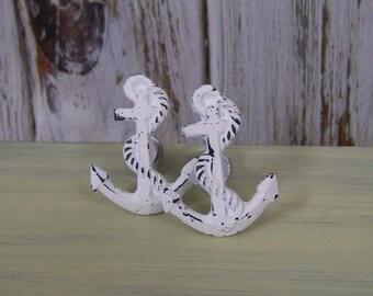 Anchor Knob-Cast Iron Nautical Knob, Beach Decor, Glass Knob with Floral Design, Shabby Chic Decor Drawer Pull