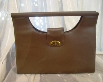 Vintage Cocoa Taupe Hand Bag, Ca 1960s