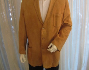Vintage Gold Suede Sport Jacket, DeLong Sportswear Classics, Size 44, ca 1960s