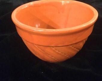 Vintage Deep Terra Cotta Color Yellow Ware Bowl, Watt Pottery, ca 1920s