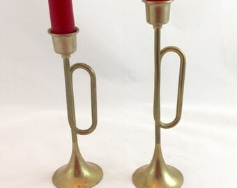 Vintage Brass Trumpet Candleholders x  2/Brass Candlestick Holders