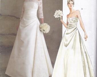 V2842 Vogue Wedding Dress Sewing Pattern Sizes 12-14-16