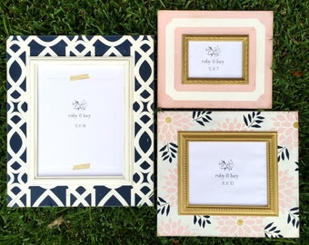 modern distressed gallery wall picture frame grouping | 11x14, 8x10, 5x7 | navy & pink | metallic gold | baby girl nursery | wall art decor