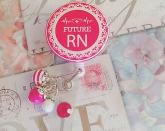 Future RN | Student Nurse Dark Pink Retractable Badge Holder