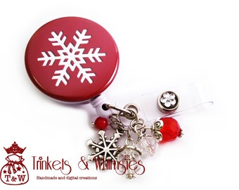 Merry Snowflake Retractable ID Badge Holder