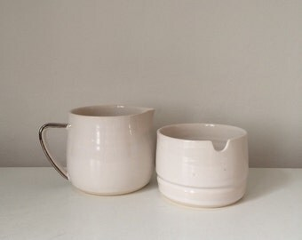 Cream and sugar set with whitr gold handle - coffee drinkers gift - tea - milk and sugar