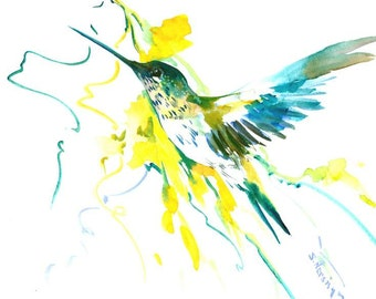 Flying Hummingbird anf Yellow Flowers, original watercolor painting, 15 x 11 in, birds and flowers asian style watercolor art, zen