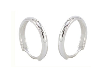 10k White Gold Hoop Earrings 13mm Medium Hinged Hoops