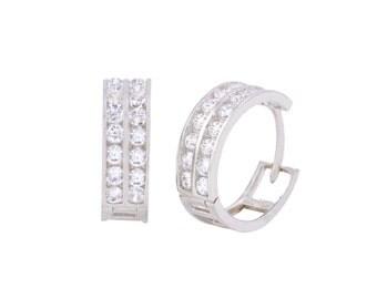 Hoop Earrings CZ Huggies Sterling Silver 2 Row Cubic Zirconia 18mm x 6mm