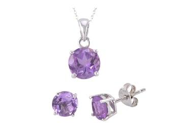 925 Sterling Silver Amethyst Gemstone Pendant Necklace and Earrings Set Purple