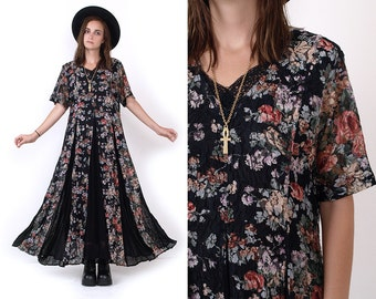 90's Black Floral Sheer Rayon Grunge Revival Long Vintage Maxi Dress M