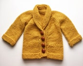 Golden Yellow Baby Cardigan Sweater, 6-12 months