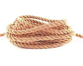 3.5mm Peach Twisted Rayon Satin Rope Silk Braid Cord - 3 Ply Twist - 1 meters - 1.09 Yards - No:17
