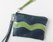 Leather clutch or wristlet in Seahawk colors.  Seahawk bag.