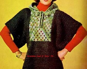 Vintage Pattern - Capped Sweater Crochet Pattern - Tunic Pullover Sweater - PDF Instant Download - Digital Pattern - Jumper Bat wing Sweater