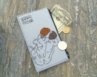 Woman's zipper wallet/ Egon Schiele clutch wallet/ Vegan felt hand embroidered wallet/ Woman's purse
