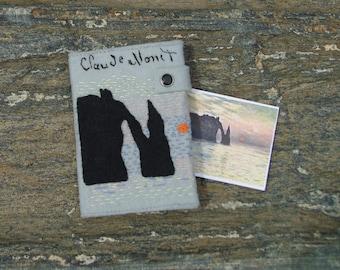 Claude Monet Passport Cover/ READY TO SHIP/ Hand Embroidered Passport Wallet/ Vegan Felt Passport Holder