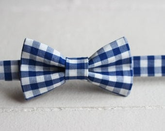 Boys Blue Gingham Bow Tie - Gingham Baby Bow Tie, Boys Gingham Bow Tie, Royal Blue Toddler Bow Tie, Boys Blue Bow Tie, Gingham Baby Bow Tie