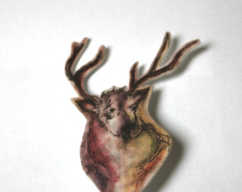 Stag watercolour Brooch
