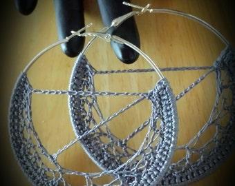 Grey Crochet Hoop Earrings